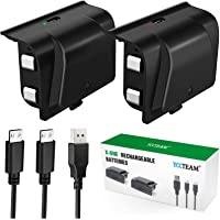 Xbox One Battery Pack, 2 x 1200 mAh Xbox One Controller Battery with 4FT Micro USB Cable and LED Charging Indicator for…