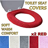 Toilet Seat Cover - Super Warm Fleece - Retaining Ring - Universal Fit - Machine Washable (2x RED)