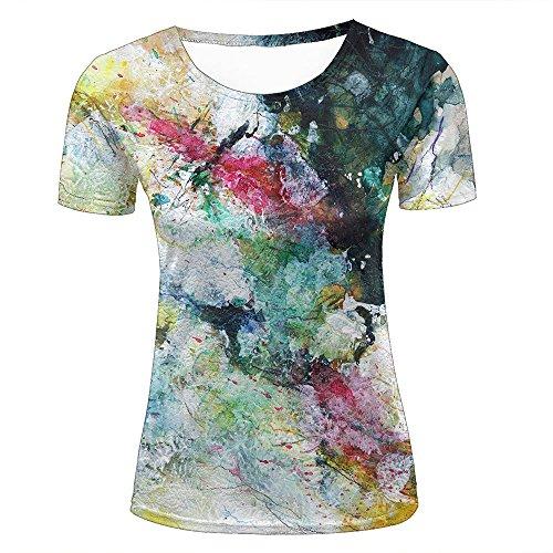 GUOJOOE Tshirts Herren Damen Sommer Multicolor Tie Dye 3D Printed Kurzarm Blusen Tops S (Tie-dye-t-shirt Pattern)
