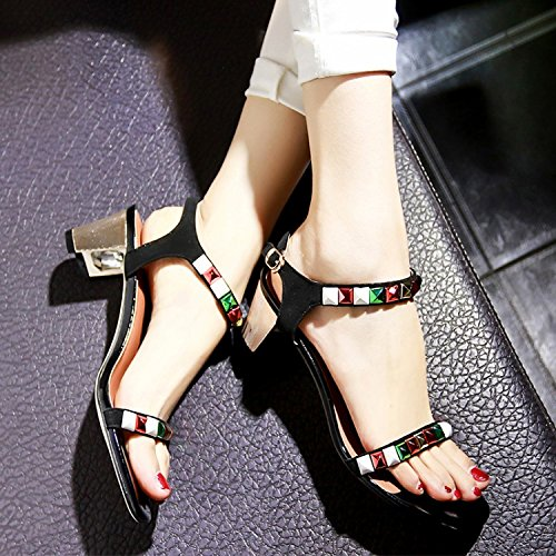 Frauen Schuhe mit einem rauen Diamant Sandalen Mode Print Schuhe Black