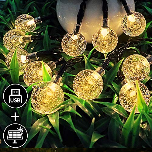 Mit USB Ladefunktion, InnooLight 30er LEDs Solar Lichterkette aussen, Wasserdichte4m Warmweiß Kugel Lichterkette + 2m Anschlusskabel Garten Außen, Solar Beleuchtung für Party, Outdoor, Fest Deko usw.