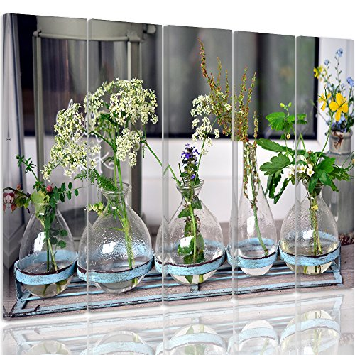 Feeby. Multipart Canvas - 5 Panels - Wall Art Picture, Image Printed On Canvas, Xxl, 5 Parts, Type C, 250x120 Cm, Vases, Glass, Flowers, Green
