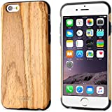 "BELK Carcasa rígida de madera para iPhone 6S/para iPhone 6, carcasa híbrida de goma, ultra fina, para iPhone 6 & iPhone 6S (4,7""), Rubber + Teak, iPhone 6 Plus / iPhone 6S Plus - 5.5"""