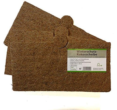 Protection plantes disque de paillage en fibres, coco disque protection d'hiver pour plantes en pot 38 x 38 cm - 3 pièces