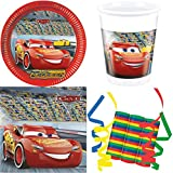 Cars 3 Disney 39-teiliges Kindergeburtstag Party Deko Set Basis Motto Fete Feier 8 Teller, 8 Becher, 20 Servietten, 3 Rollen Luftschlangen