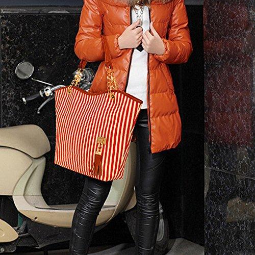 Butterme Borsa a tracolla di acquisto della tela di canapa della borsa della spalla delle donne delle nappe della banda di modo delle donne Rosso