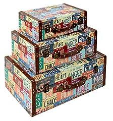 Idea Regalo - ts-ideen GmbH Set valigie decorative in legno stile Shabby Vintage anticato. 3 pezzi in diverse dimensioni.