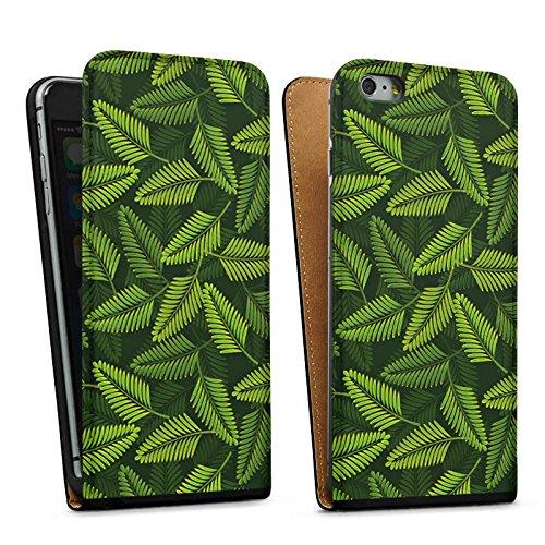 Apple iPhone 5s Housse Étui Protection Coque Palmier Plantes Plantes Sac Downflip noir