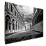 Feeby DRESDEN Wandbild Deco Panel Bild, Größe: 70x100 cm, DEUTSCHLAND SCHLOSS ARCHITEKTUR SCHWARZ UND WEIß