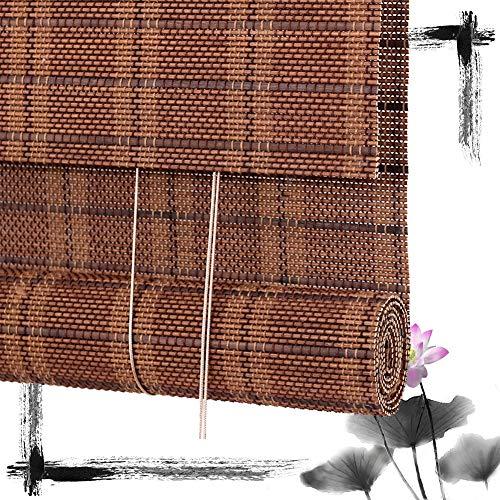 HAIPENG-Bambusrollo Rollo Bambus Raffrollo Sichtschutz Rollos Holzrollo Vorhang Zum Fenster Und Türen Dekor Schattierung Garten Veranda Balkon Braun (Color : A, Size : 120X200CM)