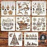 Kompanion Weihnachtsschablonen Set, Plastisches Dekorationswerkzeug für Weihnachtskarten und Kinderhandwerk, waschbar, 8 Verschiedene Designs