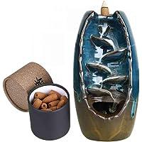 Bruciatore di incenso a flusso inverso, Loto di Buddha, con 10 coni di incenso, in ceramica Blue Burner (Include 60…