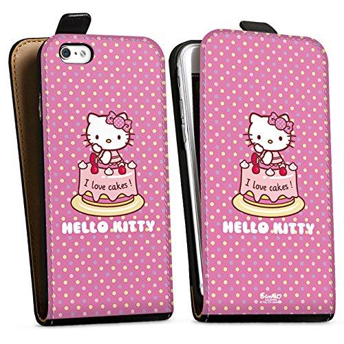 Apple iPhone X Silikon Hülle Case Schutzhülle Hello Kitty Merchandise Fanartikel I Love Cakes Downflip Tasche schwarz