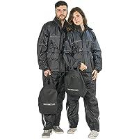 TJ MARVIN Set antipioggia SPORTIVO E37 composto da giacca, pantaloni, zaino, Nero, S