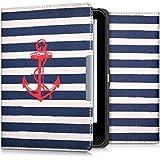 kwmobile Hülle für Tolino Vision 1 / 2 / 3 / 4 HD - Flipcover Case eReader Schutzhülle - Bookstyle Klapphülle Anker Streifen Vintage Design Rot Dunkelblau Weiß
