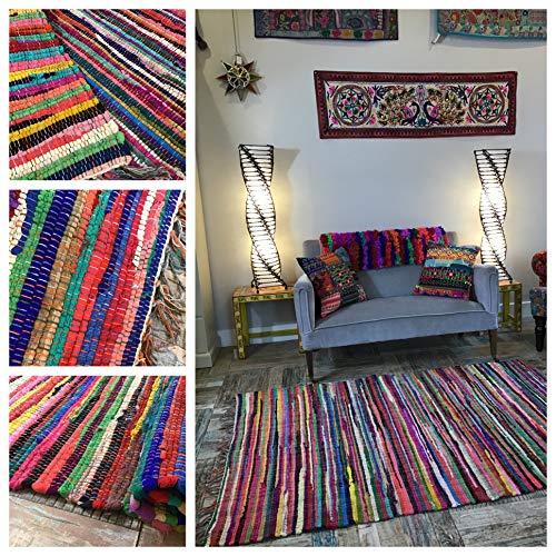 Hermosa alfombra multicolor Chindi Rag