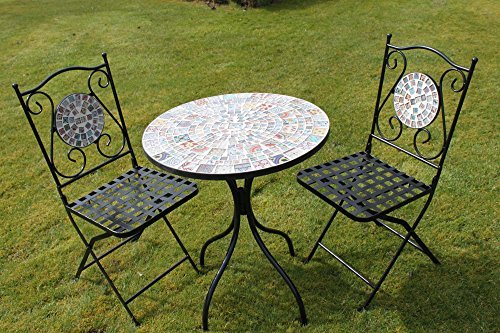 2 Seater 'Chic Pattern' Mosaic Bistro Patio Garden Set.
