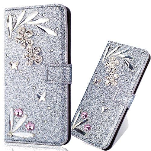 Diamond Sparkle Funkeln Bling Glitter Glitzer Ledertasche Stand Funktion Kartenfach Magnetverschluss Bookstyle Slim Klassisch Modisch Flip Wallet Hülle Schutzhülle für Huawei Mate 20 Lite -