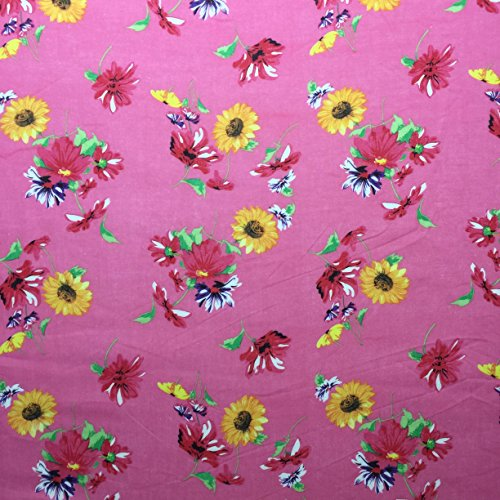 Ditsy Floral Print 1502/486Pink 100% Baumwolle Linon Sommer Kleid Stoff 147,3cm breit, Meterware, -