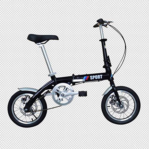 14 Zoll Aluminiumlegierung Faltrad V Bremse Fischschuppen Schweißen Single Speed   Ultra Light Portable Bike,Black