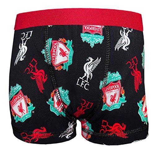 Liverpool FC - Calzoncillos oficiales - Con el escudo del club, el Liverbird y el texto «You'll Never Walk Alone» - Negro escudo multicolor - Medium