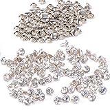 rivetto - TOOGOO(R) 100pz chiodo fai da te con strass diamante rivetto brillante 7 millimetri argento