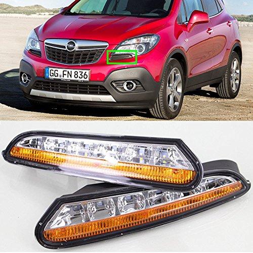 eeMrke Auto Modifizierter Markt Tagfahrlicht Nebelscheinwerfer Schutzsatz TAGFAHRLEUCHTEN DRL Gelbe Blinker Licht für Mokka Encore 2012-2016
