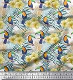 Soimoi Blanco Jersey de algodon Tela hojas de pino, y tucán pajaro estampados de tela por metro 58 Pulgadas de ancho