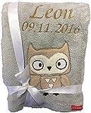 Babydecke bestickt mit Name und Geburtsdatum / kuschelig weich / 1A Qualität (Grau - EULE)