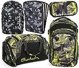 satch match Jungle Lazer 5er Set Rucksack, Sporttasche, Schlamperbox, Heftebox & Regencape Schwarz