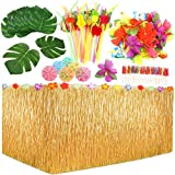 Auihiay 109 Pieces Tropical Party Decoration Set with 9 Feet Hawaiian Table Skirt, Palm Leaves, Hawaiian Flowers, Multicolored Umbrellas and 3D Fruit Straws for Hawaiian Luau Party Table Decorations