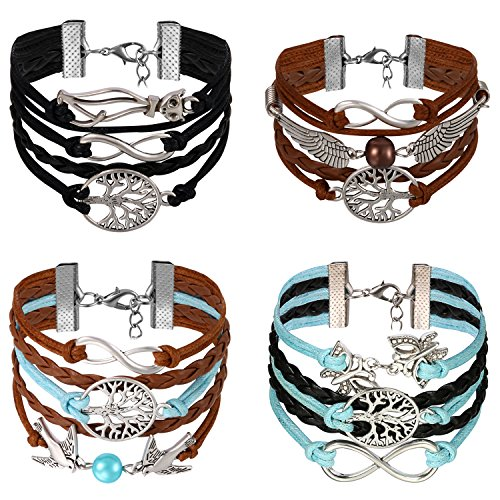 Armband Infinity Armkette Lebensblume Damen Armband Leder Flügel Lederarmband Schwarz Leder Wickelarmband Vintage Charm Armband Leder mit Unzertrennliche, Katze, Schmetterling ()
