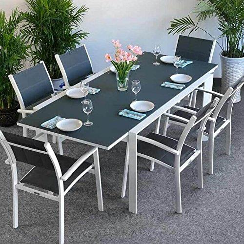 Table Janine et 6 chaises Georgia - BLANC & GRIS | Table extensible 220cm pour l'intérieur et l'extérieur