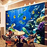 3D Wall Mural Wallpaper Underwater World Fish Coral Large Wall Painting Living Room Bed Room Wall Home Decor Murals,250 * 175Cm