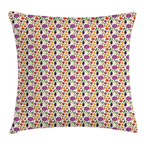 Cyourteem Vegetables Throw Pillow Cushion Cover, Colorful Harvest Agriculture Theme Continuous Pattern with Food Written Names, Decorative Square Accent Pillow Case, 16 X 16 Inches, Multicolor