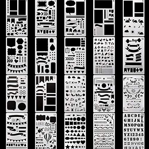 CESHUMD Zeichenschablonen Paint Marker 20 Stück Tagebuch Schablone Kunststoff Zeichnung Skala Malen...
