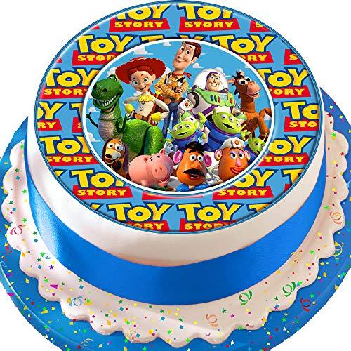 Kuchendekoration aus Zuckerguss, Motiv: Toy Story, ,mit Woody, Jessie, Buzz und Freunden, vorgeschnitten, essbar, 19 cm (Toy Story Cake Topper)