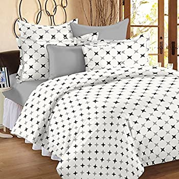 Ahmedabad Cotton 2 Piece Cotton Duvet Cover Set - 60 x 90 inches (White, Grey)
