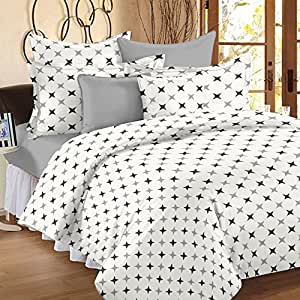 Ahmedabad Cotton Comfort 160 TC Double Bedsheet with 2 Pillow Covers - Geometric, White and Grey