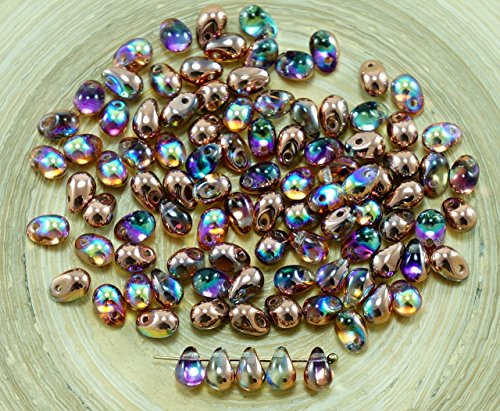 40pcs Cristallo di Rame Arcobaleno di Vetro ceco Piccola Goccia Perline 4mm x 6mm