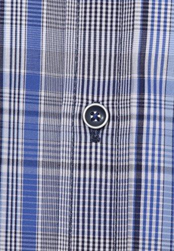 Hatico Jupiter Pure -  Camicia Casual  - Uomo Karo Mittelblau