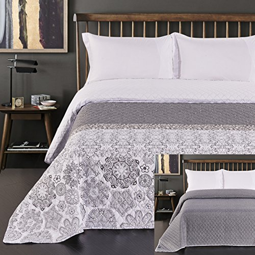DecoKing Couvre-lit réversible en polyester, gris et blanc, 170 x 210 x 1 cm, 77191, Polyester, stahl silber, 260x280