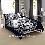 Indian Duvet Cover Set Black&White Head Of Skull Skeleton Hippie Mandala Blanket Cover Quilt Cover Bedspread Comforter Set With Pillow Cases By Bhagyoday Fashions
