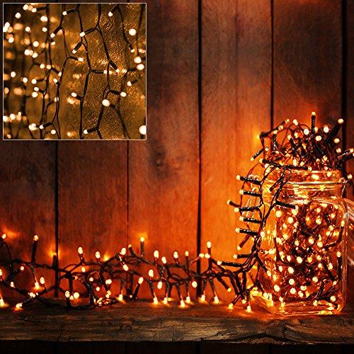 Deuba 100 LED Lichterkette 7m I Warmweiß I Batterie & Timer I für Innen & Außen I 8 Funktionen - Weihnachtsbeleuchtung Weihnachtsdekoration Weihnachtsbaum Beleuchtung
