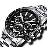 Mens Stainless Steel Chronograph Watches Men Luxury Waterproof Date Calendar Analogue Quartz Counts