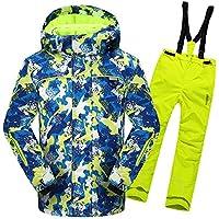 Gimitunus Chaqueta de esquí con Capucha y Pantalones Impermeables, a Prueba de Viento, para niños, cálidos y Resistentes al Viento, con 2 pzs. (Color : Amarillo, tamaño : 158/164)