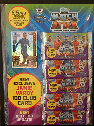 Topps Match Attax 2015 2016 Multipack 15 16 Trading Cards With Jamie Vardy 100 Club Card