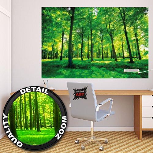 LEINWAND BILDER Wald Baum Sonne grün Herz Wasserfall WANDBILDER KUNSTDRUCK
