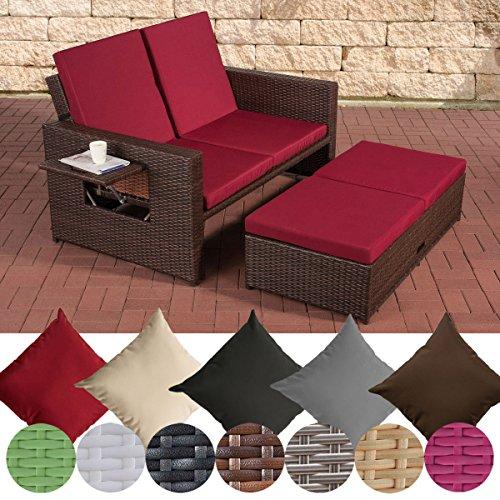 CLP Poly-Rattan 2er Lounge-Sofa ANCONA, ALU-Gestell, Fußteil ausziehbar, flexibel verstellbar, 7 Farben + 2 Rattan Stärken wählbar Rattan Farbe braun-meliert, Stärke 1,25 mm, Bezugfarbe: Rubinrot