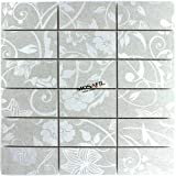Teros Feinsteinzeug Mosaik Fliesen Ornament Flower Blume Hellgrau Silber